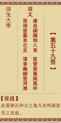 保生大帝灵签 第59签:律、【用兑卦】