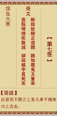 保生大帝灵签 第7签:斩、【用讼卦】