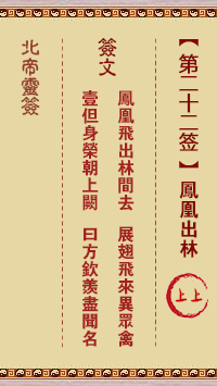 北帝灵签 第22签:凤凰出林 上上