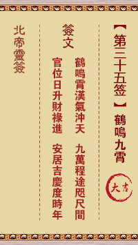 北帝灵签 第35签:鹤鸣九霄 大吉