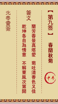 北帝灵签 第9签:春兰秋菊 中平