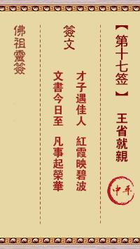 佛祖灵签 第17签:王省就亲 中平签