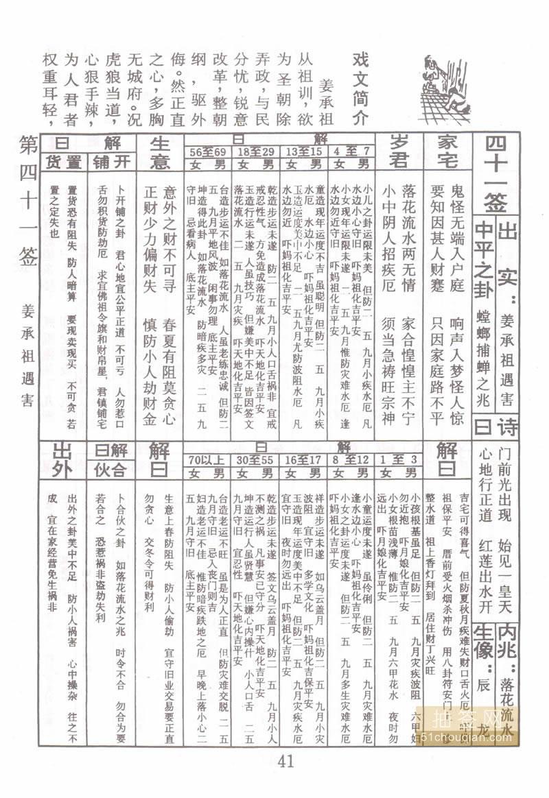 佛祖灵签 第41签:姜承祖遇害 中平签