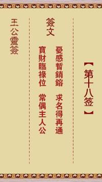 王公灵签 第18签:忧感暂销镕、求名得再通
