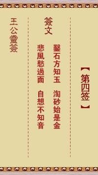 王公灵签 第4签:凿石方知玉、淘砂始是金