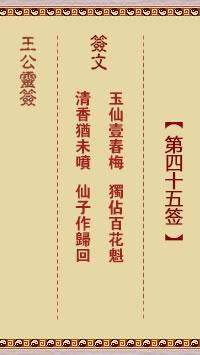 王公灵签 第45签:玉仙一春梅、独占百花魁
