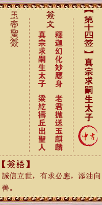 玉帝灵签 第14签:真宗求嗣生太子 中吉