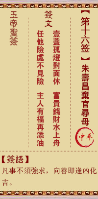 玉帝灵签 第16签:朱寿昌弃官寻母 中平