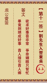 周公灵签 第11签:刘先生入赘东吴