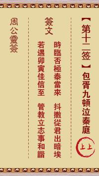 周公灵签 第12签:包胥九顿泣秦庭
