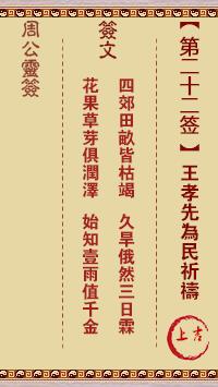周公灵签 第22签:王孝先为民祈祷