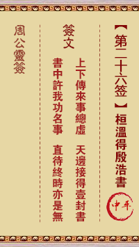 周公灵签 第26签:桓温得殷浩书