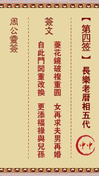 周公灵签 第4签:长乐老历相五代
