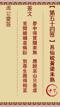 周公灵签 第54签:吕仙枕黄梁未熟