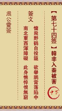 周公灵签 第74签:韩非入秦被害