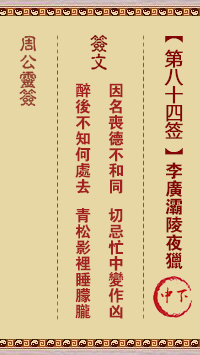 周公灵签 第84签:李广灞陵夜猎