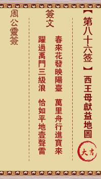 周公灵签 第86签:西王母献益地图