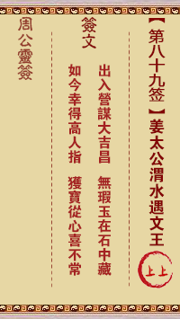 周公灵签 第89签:姜太公渭水遇文王